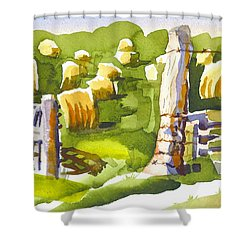At The Farm Baling Hay II Shower Curtain by Kip DeVore