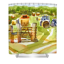 At The Farm Baling Hay Shower Curtain by Kip DeVore