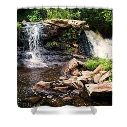 At The Mill Pond Dam Shower Curtain by Joy Nichols