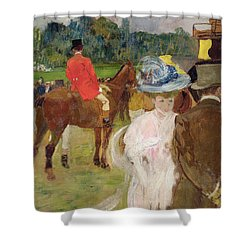 At The Races At Auteuil Shower Curtain by Leon Georges Carre
