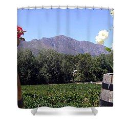 At The Rickety Bridge Winery Shower Curtain by Barbie Corbett-Newmin