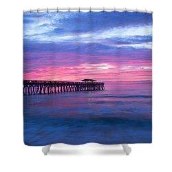 Myrtle Beach State Park Pier Sunrise Shower Curtain by Vizual Studio
