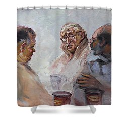 At Tim Hortons Shower Curtain by Ylli Haruni