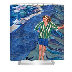 Shower Curtain featuring the painting At Wintergreen Park Canajoharie 1957 by Betty Pieper