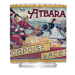 Shower Curtain featuring the photograph Atbara Porpoise Laces Vintage Ad by Gianfranco Weiss