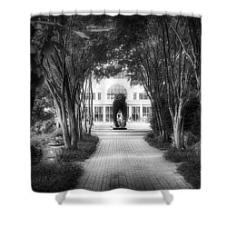 Atlanta Botanical Garden-black And White Shower Curtain