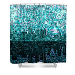 Atlanta Skyline Abstract 2 Shower Curtain by Bekim Art