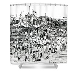 Shower Curtain featuring the drawing Atlantic City Boardwalk 1890 by Ira Shander