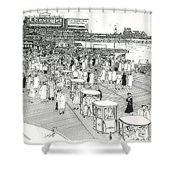Shower Curtain featuring the drawing Atlantic City Boardwalk 1940 by Ira Shander
