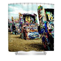 Atomic Cadillacs Shower Curtain by Sonja Quintero