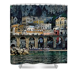 Atrani. Amalfi Coast Shower Curtain by Jennie Breeze