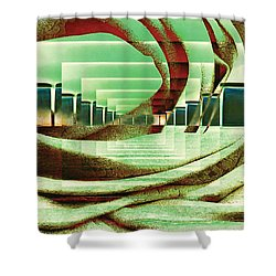 Shower Curtain featuring the digital art Atrium by Paula Ayers