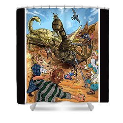 Shower Curtain featuring the painting Attacked By Scorpions by Reynold Jay
