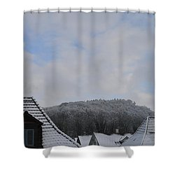 Shower Curtain featuring the photograph Attic Windows Open To The Sky by Felicia Tica