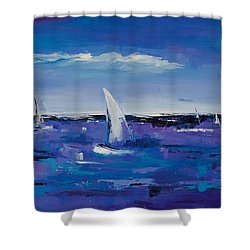 Shower Curtain featuring the painting Au Gre Du Vent by Elise Palmigiani