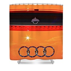 Shower Curtain featuring the photograph Audi Orange by Linda Bianic