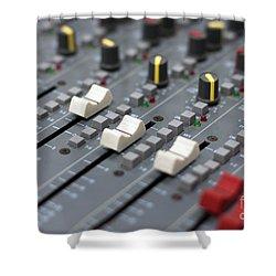 Shower Curtain featuring the photograph Audio Mixing Board Console by Gunter Nezhoda