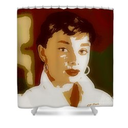 Shower Curtain featuring the painting Audrey Hepburn by Elizabeth Coats