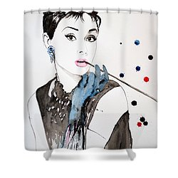 Shower Curtain featuring the painting Audrey Hepburn by Ismeta Gruenwald