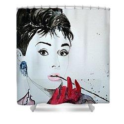 Shower Curtain featuring the painting Audrey Hepburn - Original by Ismeta Gruenwald