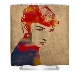 Audrey Hepburn Watercolor Portrait On Worn Distressed Canvas Shower Curtain