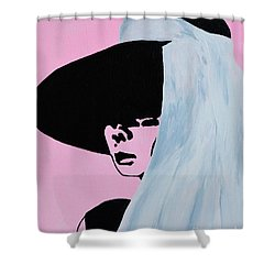 Audrey Hepburn Wears A Hat Shower Curtain by Alys Caviness-Gober