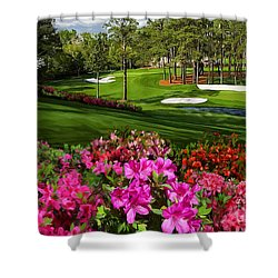 Augusta Azaleas 16th And 6th Shower Curtain by Tim Gilliland