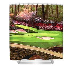 Augustas 12 Hole 28x9 Shower Curtain by Tim Gilliland