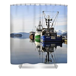 Auke Bay Reflection Shower Curtain by Cathy Mahnke