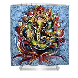 Aum Ganesha Shower Curtain by Harsh Malik