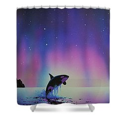 Aurora Borealis And Whale Shower Curtain