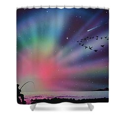 Aurora Borealis Gone Fishing Shower Curtain