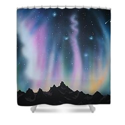 Aurora Borealis In The Rockies Shower Curtain
