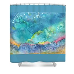 Shower Curtain featuring the painting Aurora Borealis by Nancy Jolley