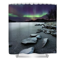 Shower Curtain featuring the photograph Aurora Borealis Over Sandvannet Lake by Arild Heitmann