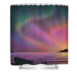 Aurora Borealis With Lobster Cage Shower Curtain
