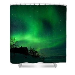 Aurora Over Lake Tornetrask Shower Curtain by Max Waugh