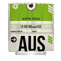 Austin Airport Poster 1 Shower Curtain by Naxart Studio