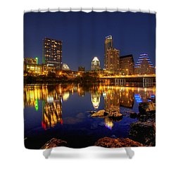 Shower Curtain featuring the photograph Austin On The Rocks by Dave Files