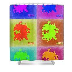 Austin Pop Art Map 4 Shower Curtain by Naxart Studio