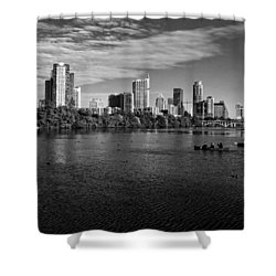 Austin Skyline Bw Shower Curtain