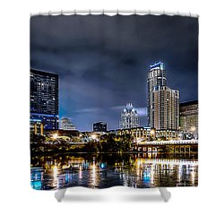 Austin Skyline Hdr Shower Curtain by David Morefield
