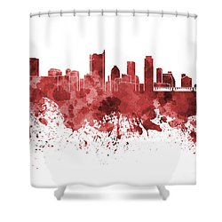 Austin Skyline In Red Watercolor On White Background Shower Curtain by Pablo Romero