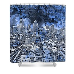 Austin Texas Abstract Panorama 5 Shower Curtain