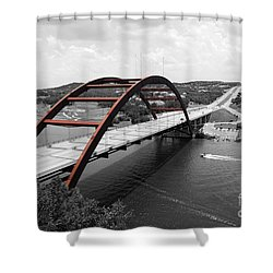 Austin Texas Pennybacker 360 Bridge Color Splash Black And White Shower Curtain by Shawn O'Brien