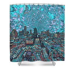 Austin Texas Vintage Panorama 4 Shower Curtain by Bekim Art