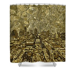 Austin Texas Vintage Panorama Shower Curtain by Bekim Art