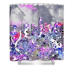 Austin Texas Watercolor Panorama2 Shower Curtain