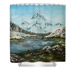 Shower Curtain featuring the painting Austrian Lake by Jean Walker