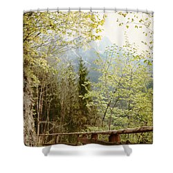 Austrian Woodland Trail And Mountain View Shower Curtain by Brooke T Ryan